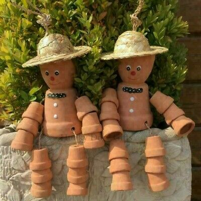 £15.95 • Buy Pair Cheeky Cheerful FLOWER POT MEN With Straw Hat Garden Decorative Ornaments