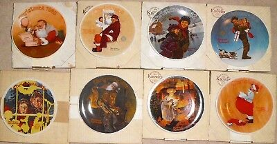 $ CDN64.88 • Buy Lot Of 8 Norman Rockwell Christmas Knowles Collector Plates 1977-1985 - NEW