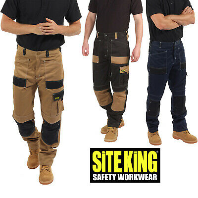 £29.99 • Buy Mens Contrast Elasticated Work Trousers With Holster Pockets By SITE KING - 010