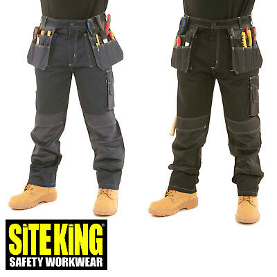 £29.99 • Buy Mens Heavy Duty Contrast Cargo Holster Pocket Work Trousers By SITE KING - 009