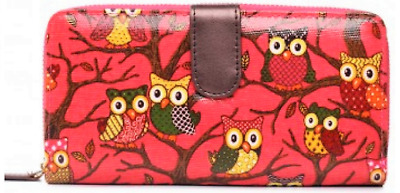 Pink Owl Purse * Cards Money Wallet Coins Photo Pockets Multi-coloured Oilcloth • 5.99£