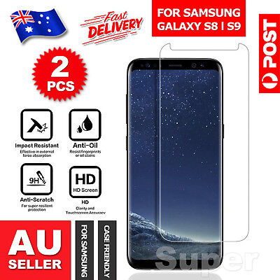 AU6.95 • Buy 2x For Samsung Galaxy S9 S8+ Plus Note 8 Tempered Glass Screen Protector Film