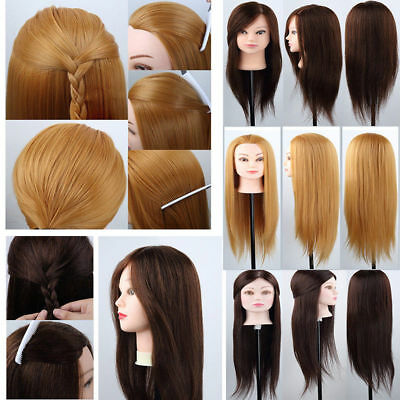 $37.04 • Buy 100% Human Hair Training Head Salon Hairdressing Mannequin Makeup Doll & Clamp