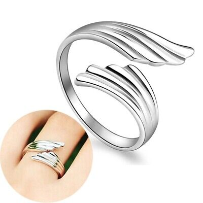 *UK* Silver Plt Adjustable Open Angel Wings Feather Ring Thumb Ladies + Gift Box • 4.56£