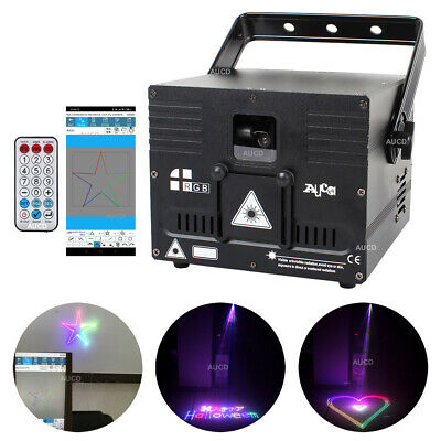 AU382.32 • Buy 1W RGB Animation Laser Projector DMX ILDA APP Bluetooth DJ Party Stage Lighting