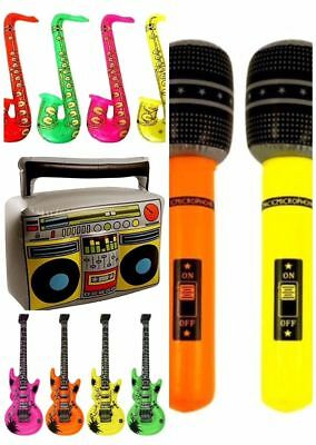 Inflatable Music Instruments Guitar/Microphone/SAXOPHONE COLORFUL BLOW UP PARTY • 6.49£