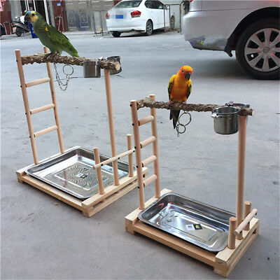 Parrot Tree Bird Stand Wood Parrot Stand Play Gym Center Bird Training Tree Toy  • 56£
