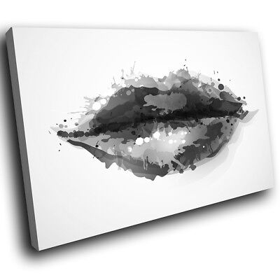 ZAB340 Black White Lips Cool Modern Canvas Abstract Wall Art Picture Prints • 19.99£
