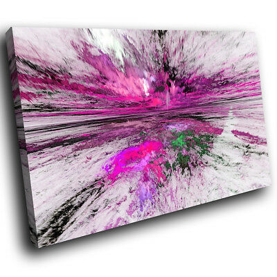 ZAB1512 Purple Pink Grey Black Modern Canvas Abstract Wall Art Picture Prints • 9.99£