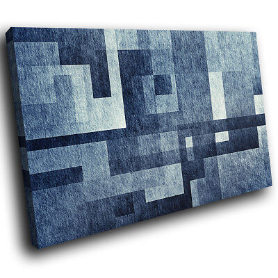 ZAB1730 Blue Grey Black Cool Modern Canvas Abstract Wall Art Picture Prints • 19.99£