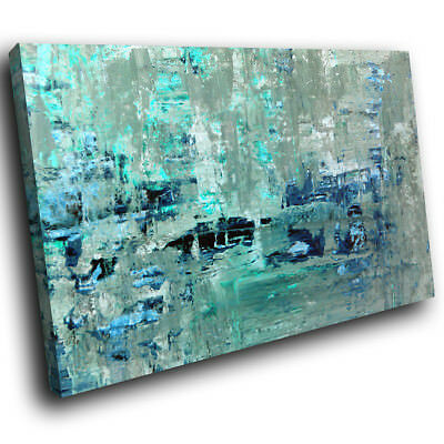 ZAB1582 Blue Teal Grey Cool Modern Canvas Abstract Home Wall Art Picture Prints • 19.99£