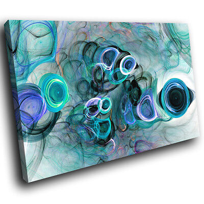 ZAB1505 Blue Teal Black Cool Modern Canvas Abstract Wall Art Picture Prints • 19.99£