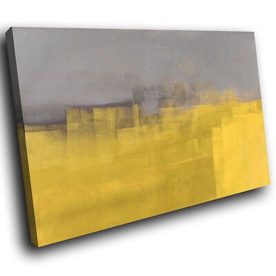 ZAB1598 Retro Grey Yellow Modern Canvas Abstract Home Wall Art Picture Prints • 19.99£