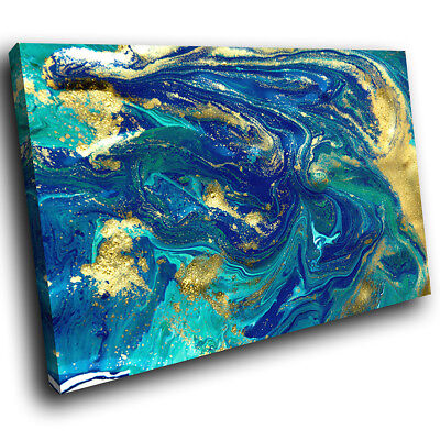 ZAB1706 Blue Teal Yellow Cool Modern Canvas Abstract Wall Art Picture Print • 19.99£