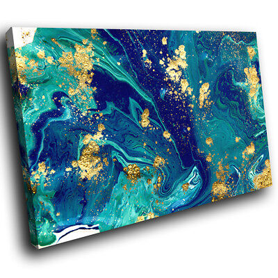 ZAB1705 Blue Teal Yellow Cool Modern Canvas Abstract Wall Art Picture Print • 19.99£