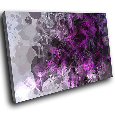 ZAB806 Purple Grey Black Cool Modern Canvas Abstract Wall Art Picture Print • 19.99£