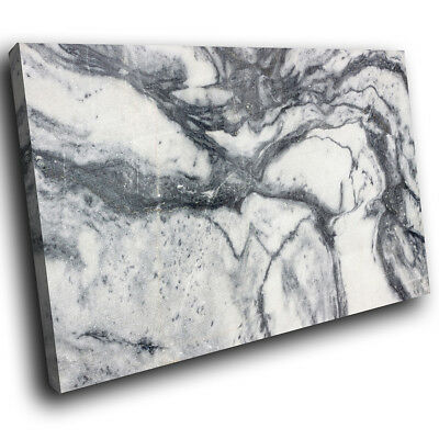 ZAB967 Grey White Cool Marble Modern Canvas Abstract Wall Art Picture Print • 19.99£