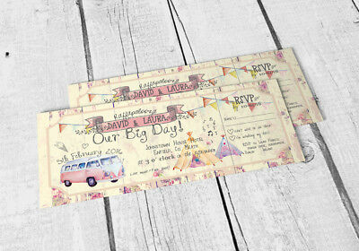 £32 • Buy 25 Wedfest Shabby Chic Summer Fete Bunting Camper Van Ticket Wedding Invitations