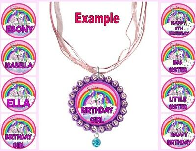 PERSONALISED UNICORN Any Name Message Childrens Custom Ribbon Necklace Rainbow • 4.34£
