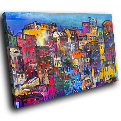 AB1479 Retro Colourful City Modern Abstract Canvas Wall Art Large Picture Prints • 29.99£