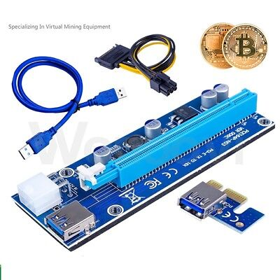 £7.98 • Buy PCI-E 1x To 16x Power USB3.0 GPU Extender Riser Adapter Card Cable Bitcoin 6PIN