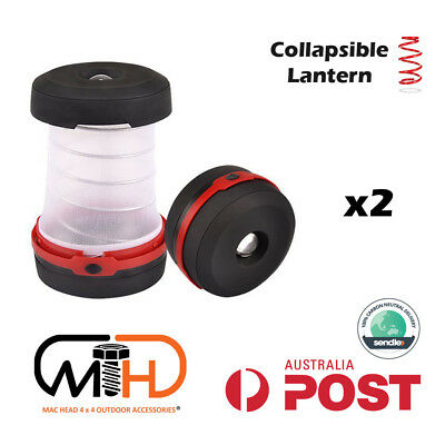 AU25.95 • Buy 2X Collapsible Camping Camp Lantern Light Battery Lamp Torch Mini Portable Tent