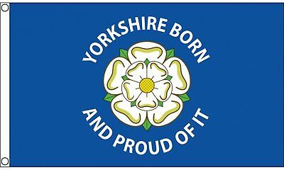 Yorkshire Born & Proud Flag - 5 X 3 FT - New 100% Polyester With Eyelets • 6.99£