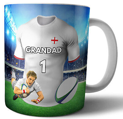 Grandad Rugby Mug Birthday Fathers Day Christmas Gift - Any Team Shirt / Colours • 12.95£