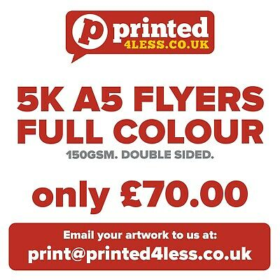 £70 • Buy 5,000 A5 Flyers - Full Colour - Double Sided - 150gsm - Leaflets