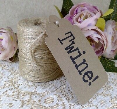 10M - 100M Natural Jute Twine Rustic String Wedding Decor Craft Tags Shabby Chic • 2.49£