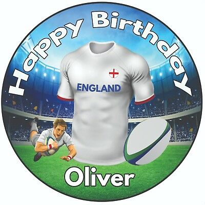 £5.49 • Buy Personalised Birthday Cake Topper 8  Icing Decoration Rugby Shirt England