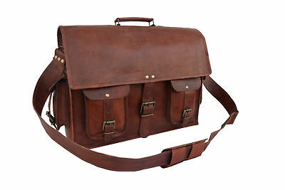 Extra Large High Quality Genuine Leather Briefcase Laptop Messenger Bag • 32£