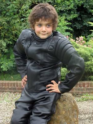 Baby Biker Kids Jim Leather Childs Motorcycle Motorbike Jacket Black T • 64.99£