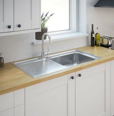 Buckland 1.0 Single Bowl Polished Stainless Steel Sink & Drainer (t) • 64.99£