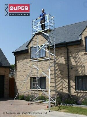 Super DIY Up To 9.2m Aluminium Scaffold Tower - 1m Frames - One Man Tower • 482.89£