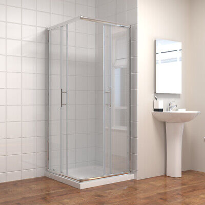 700-1200 Corner Entry Shower Enclosure Cubicle Glass Sliding/Hinge Door And Tray • 123.99£