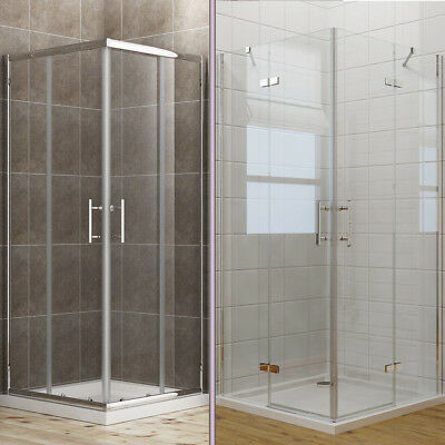 700-1200 Corner Entry Shower Enclosure Cubicle Glass Sliding/Hinge Door And Tray • 125.99£