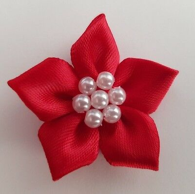 5 X Red 4cm Satin Ribbon Poinsettia Flowers With Pearl Beads - Christmas Craft  • 2.49£