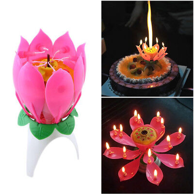 $ CDN2.22 • Buy Lotus Candle Birthday Flower Musical Rotating Floral Cake Candles Music Magic