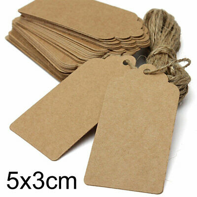 100PCS Christmas Tree Brown Kraft Paper Christmas Gift Parcel Tags Label Luggage • 3.39£