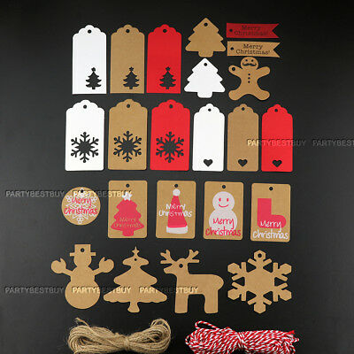 50/100 Kraft Paper Gift Tags String Crafts Price Tag Christmas Tree Hanging Deco • 2.99£
