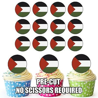 £3.49 • Buy 24 Circle Palestine Flags - Cup Cake Toppers Decorations Party Birthday