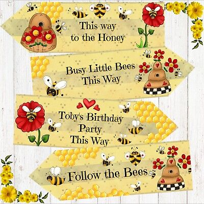 £4.20 • Buy Set Of 4 Personalised Busy Bumble Honey Bee Large Party Decoration Arrows