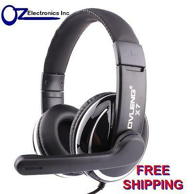 OVLENG X7 Stereo PC Gaming Headset Headphones For Skype Onoine Chat Mic 3.5mm • 15.78£