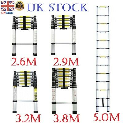 2.6M TO 5M Telescopic Ladder Portable Folding 2 3 4 Step Ladder Safety Non Slip • 49.99£