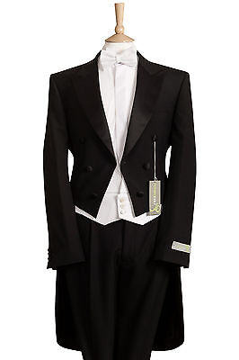 £199.99 • Buy 4 Piece White Tie Evening Tails Tailcoat Trouser,waistcoat, Bow Tie Package