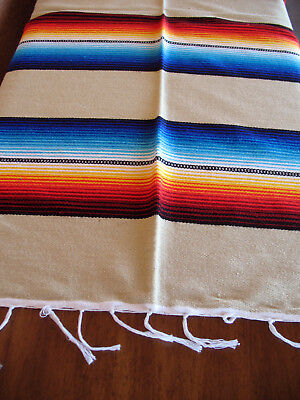 £30.12 • Buy Serape ONWS-Beige Blanket Table Cover Seat Cover Throw Mexican Design 5' X 7'