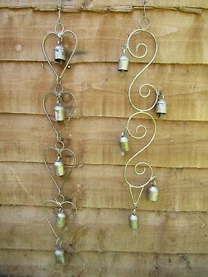 £999.99 • Buy Fair Trade Hand Made Indian Metal Rustic Heart Bell Wind Chime Windchime Mobile