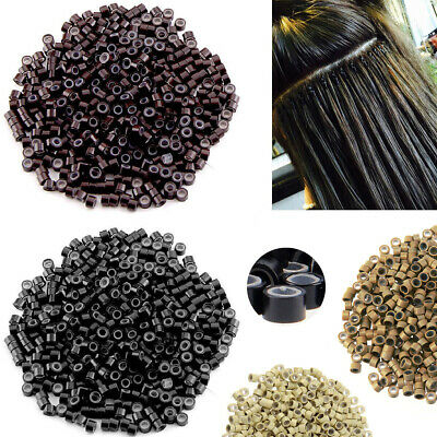 £3.79 • Buy 1000 Silicone Lined Micro Beads Rings Tube For Human Hair Extension Link Tip 5mm
