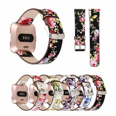 $ CDN14.32 • Buy Retro Floral Flowers Leather Strap For Fitbit Versa Band Bracelet Wrist Belt Pin
